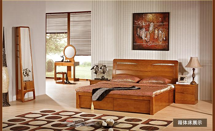 实木床 红橡木双储物床