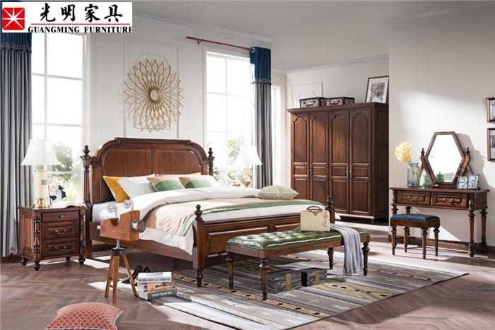 卧室家具风格搭配美到没朋友!美式风格卧室实木家具巧搭配