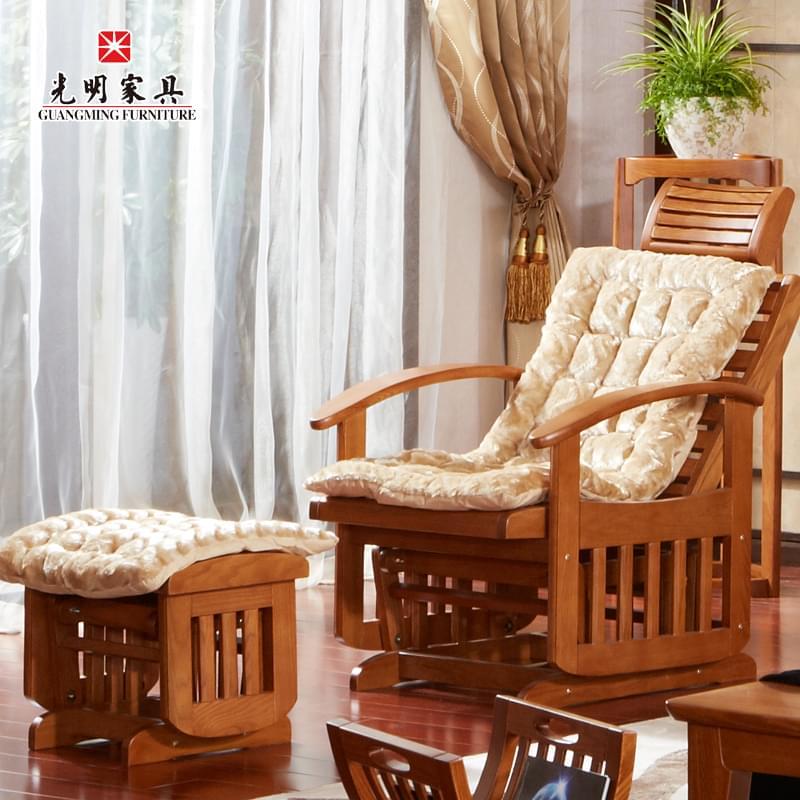【光明家具】红橡木摇椅 全实木躺椅 现代中式实木家具 118-4566-70