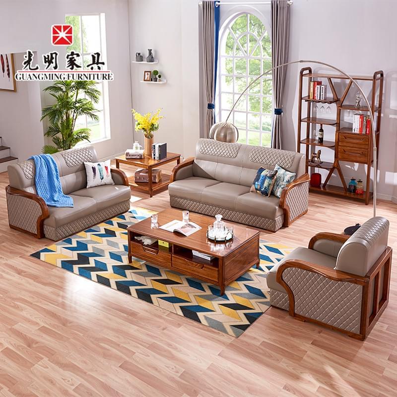 【光明家具】全龙8国际pt老虎机客户端沙发 乌金木组合沙发128-38560