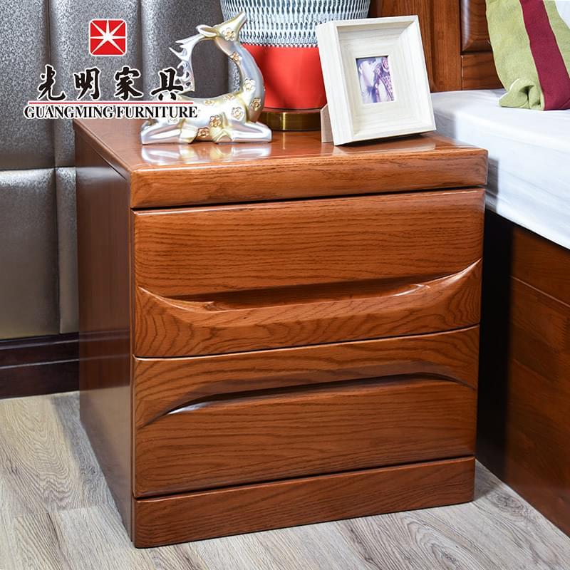 【光明家具】 北美进口红橡木床头柜 实木储物柜 楸木卧室收纳柜 GY89-1472-48