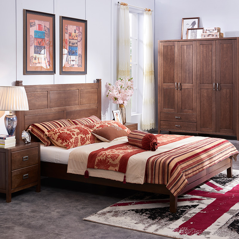 【光明家具】美式乡村全实木家具1.8双人床 榆木卧室家具全实木家具WX1-1501Y-180