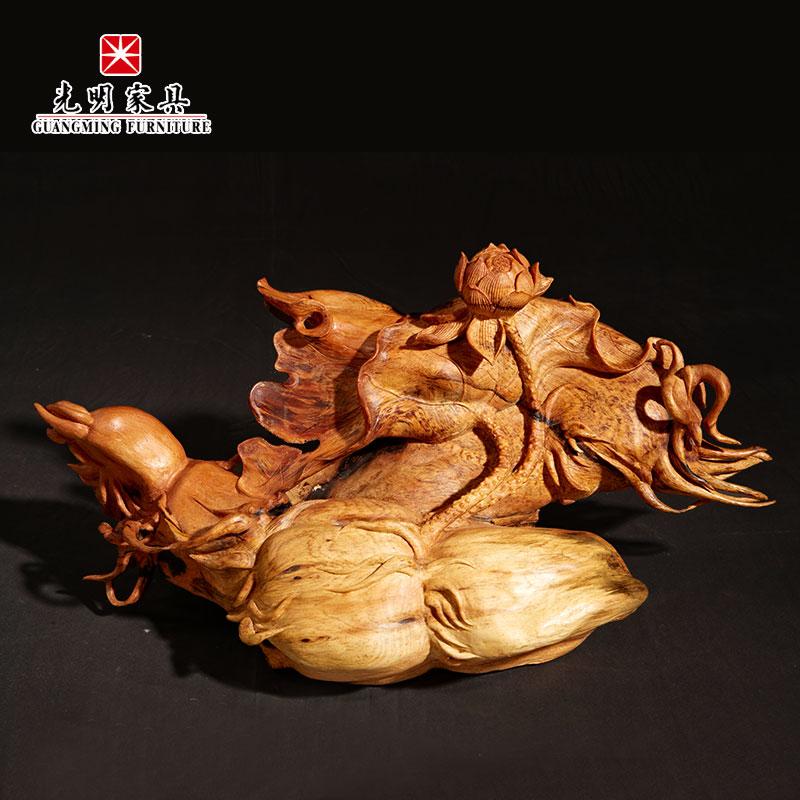 【光明家具】红松沉香木根艺手工雕刻摆件-和气生财