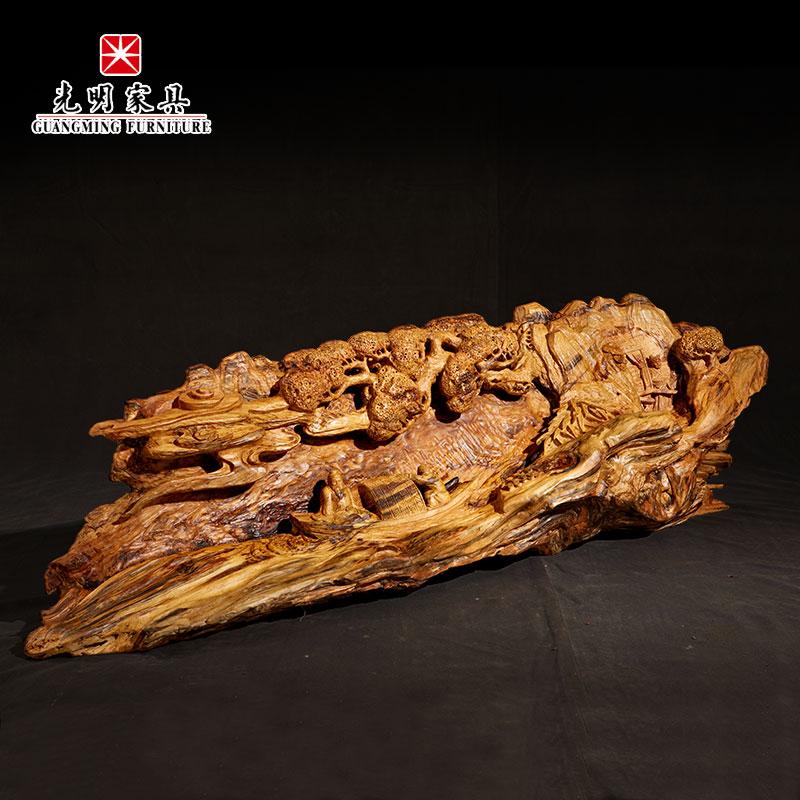 【光明亚博vip】红松沉香木根艺手工雕刻摆件-归来去兮