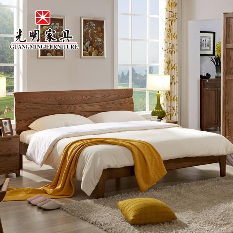 【光明亚博vip】 现代简约双人床 1.9米全实木大床 卧室亚博vip进口红橡木婚床 WX2-15343-190