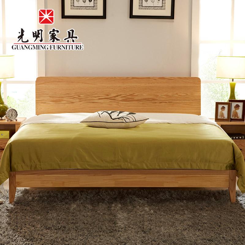 【光明亚博vip】全实木床1.8米红橡木床 北欧现代简约实木床 实木亚博vip卧室双人床WX3-1513-180