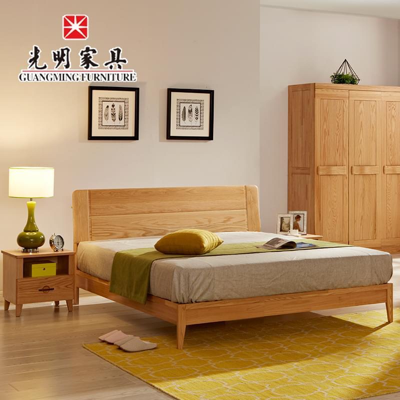 【光明亚博vip】全实木床1.8红橡木床 北欧现代简约实木双人床 卧室实木床 WX3-1523