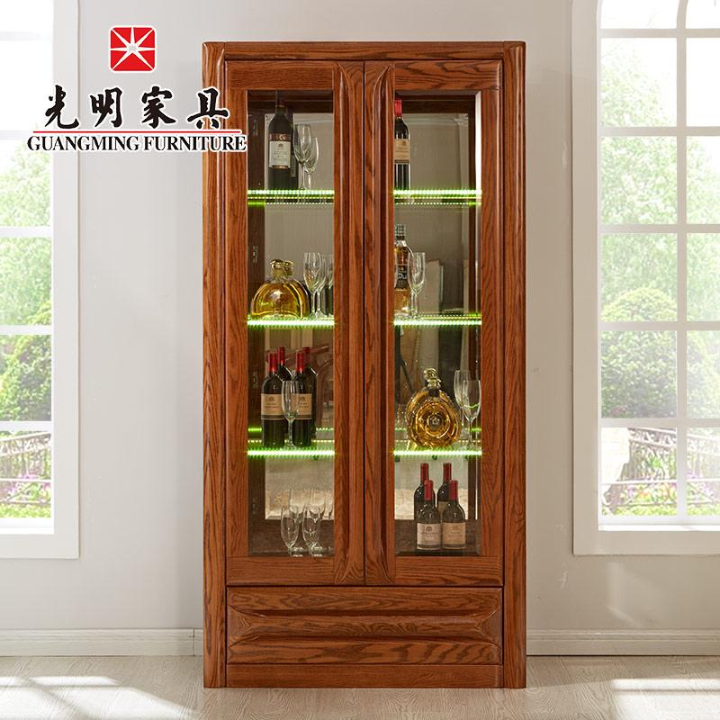【光明家具】实木酒柜 两门酒柜 北美红橡木酒柜 GY89-3372-100