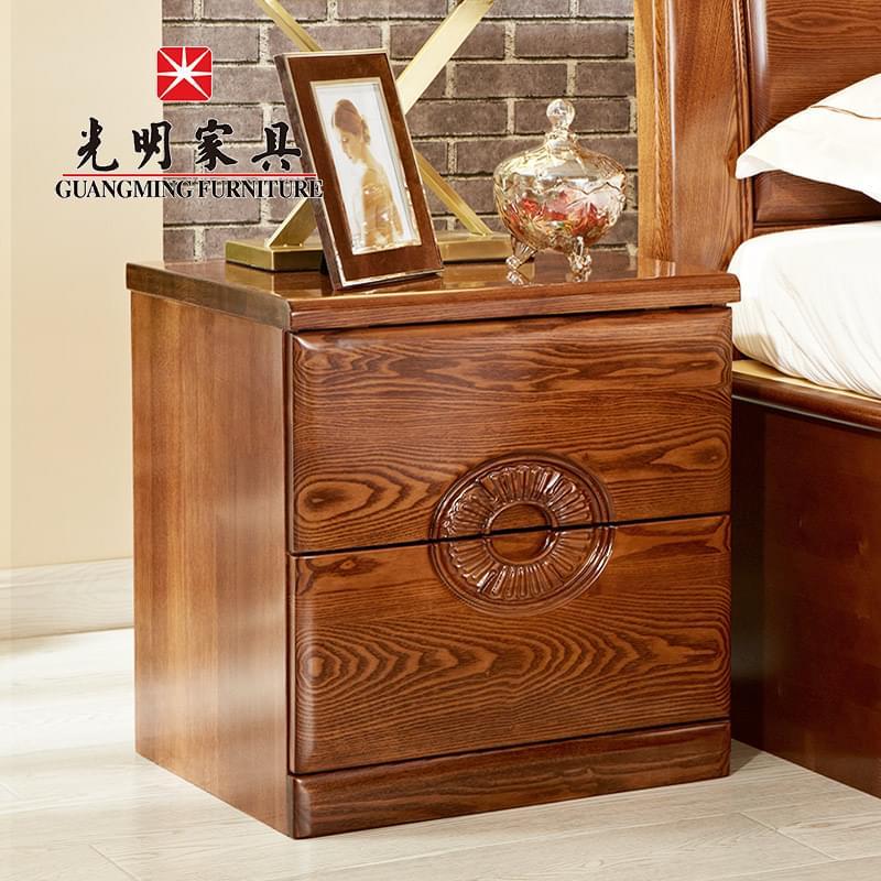 【光明家具】全实木床头柜 卧室中式床头柜 水曲柳储物柜床边柜 398-1402-50