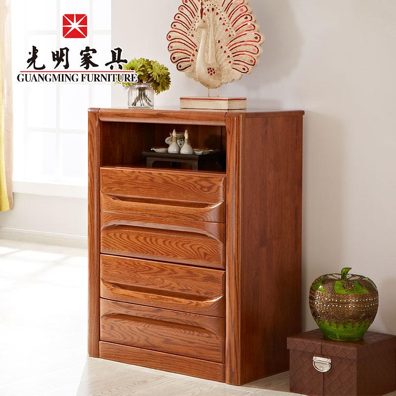 【光明家具】红橡木斗柜 实木屉柜 卧室储物柜四屉柜 GY89-4772-80H