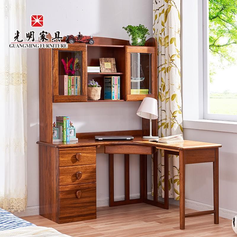 【光明家具】 实木书桌转角现代中式进口乌金木实木青少年书桌57561