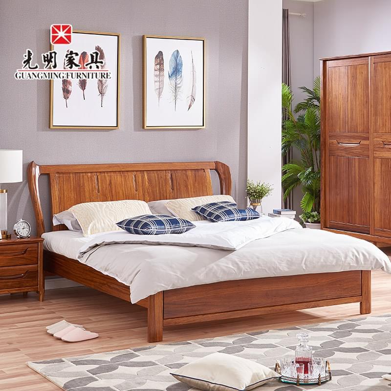 【光明家具】 实木床1.8米双人床进口乌金木现代中式床128-15563