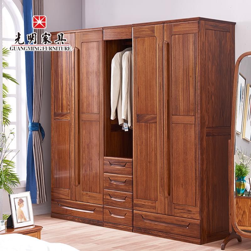【光明亚博vip】 衣柜推拉门实木现代中式乌金木卧室移门柜128-21560