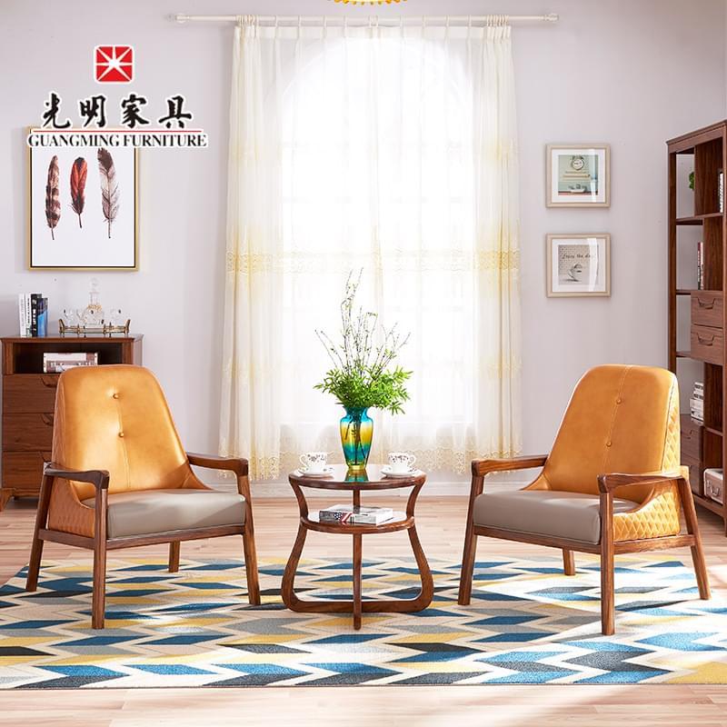【光明家具】 休闲椅实木进口乌金木软包隔凉实木椅子43562 圆几