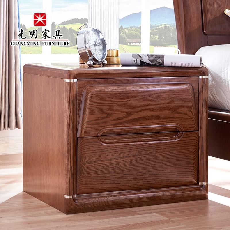 【光明家具】进口红橡木床头柜 卧室储物床头柜158-14605-55DS