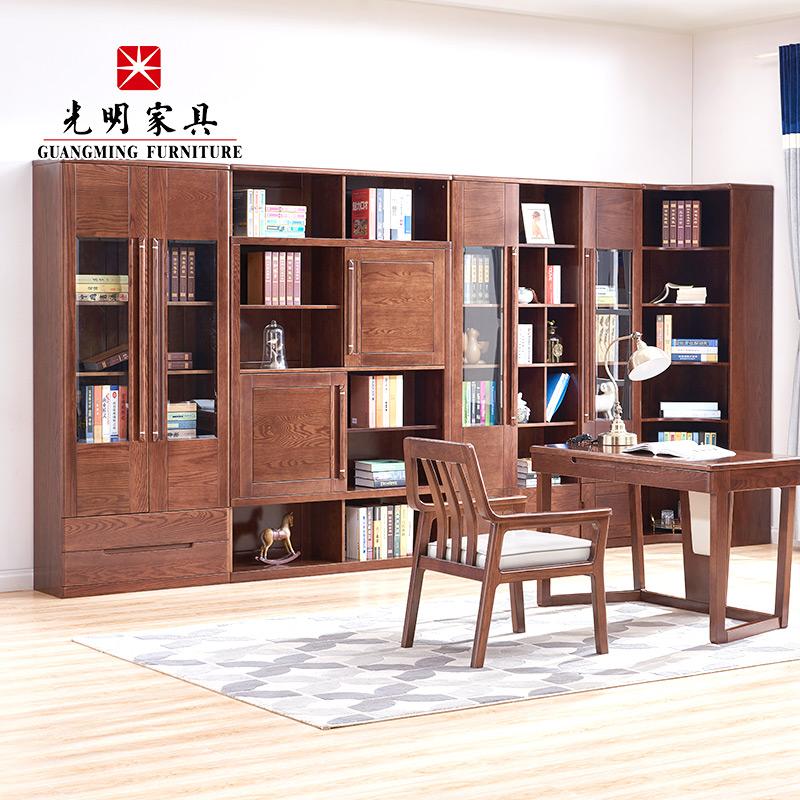 【亿博福彩app下载家具】进口红橡木组合书柜158-63602