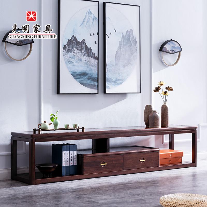 【光明家具】进口红斑马木实木电视柜 新中式客厅909-2701-211