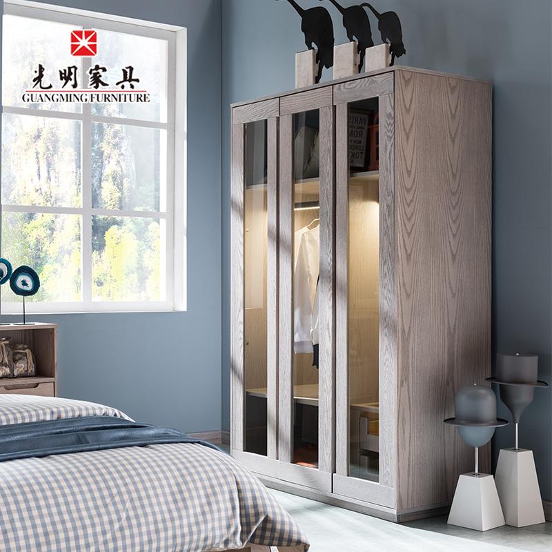 【亿博福彩app下载家具】卧室家具北欧全实木三门青少年衣柜868-2101-119