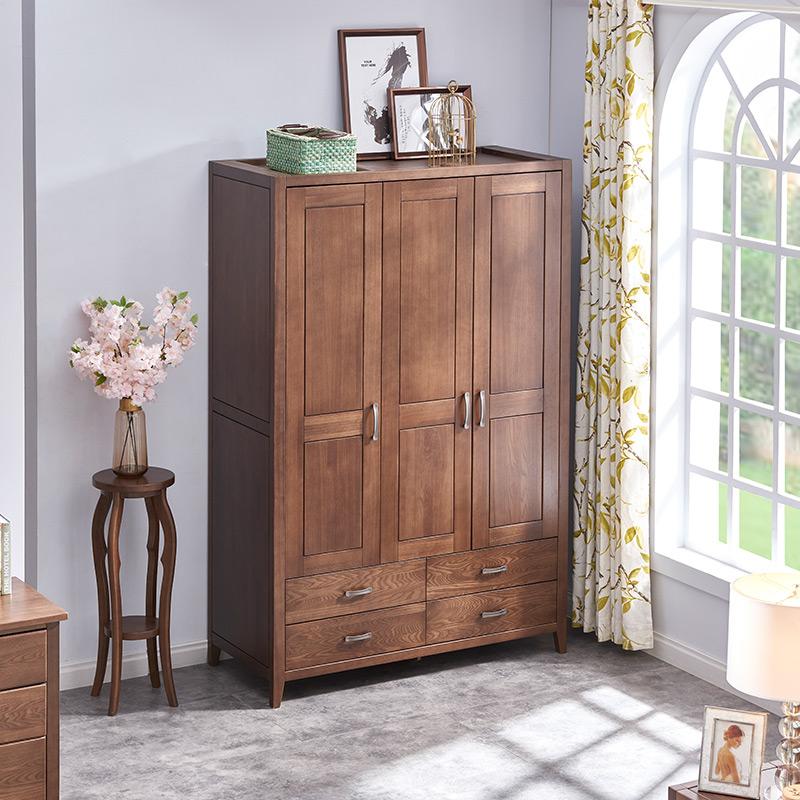 【光明家具】美式乡村全实木三门衣柜 榆木卧室家具实木衣柜储物柜WX1-2101Y-138