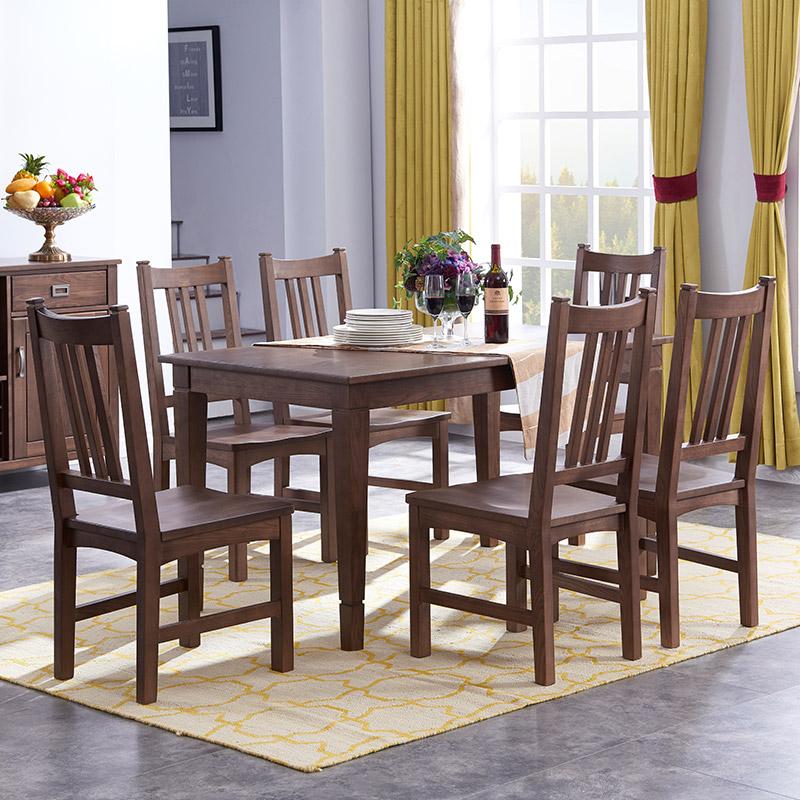 【光明家具】美式乡村全实木餐椅餐桌客厅家具 榆木餐桌餐厅实木餐桌WX1-4101Y-140